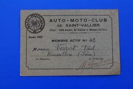 1937 SAINT-VALLIER-SUR-RHONE- Drome AUTO-MOTO-CLUB CARTE DE MEMBRE ACTIF  DOMICILIÉ A ROUSSILLON - Motos