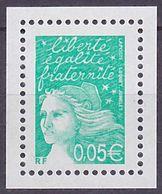 Timbre Neuf ** N° 3445a(Yvert) France 2002 - Marianne Du 14 Juillet 0,05 € Vert-émeraude, Sans Phosphore - 1997-04 Marianne Of July 14th
