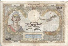 YOUGOSLAVIE 1000 DINARA 1931 VF P 29 - Yugoslavia