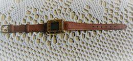 Montre Bijou Quartz  -  Aiguilles électronique - Bracelet  D'origine Cuir Marron - Bijoux & Horlogerie