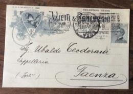 CAPPELLI - VIETTI E RONCONI -ARTICOLI DI  BERRETTERIA -CARTOLINA PUBBLICITARIA  PER FAENZA - 9/9/929 - Publicité