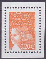 Timbre Neuf ** N° 3447a(Yvert) France 2002 - Marianne Du 14 Juillet 0,20 € Orange, Sans Phosphore - 1997-04 Marianne Of July 14th