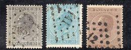 APR114  - BELGIO 1865 , Unificato N. 17+18+19  Usati - 1865-1866 Profile Left