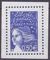 Timbre Neuf ** N° 3449a(Yvert) France 2002 - Marianne Du 14 Juillet 0,50 € Bleu Nuit, Sans Phosphore - 1997-04 Marianne Of July 14th