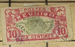REUNION,1907,10 C-USED STAMP - Usados