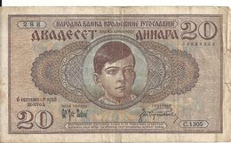 YOUGOSLAVIE 20 DINARA 1936 VF P 30 - Yugoslavia