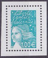 Timbre Neuf ** N° 3455a(Yvert) France 2002 - Marianne Du 14 Juillet 1,00 € Bleu-vert, Sans Phosphore - 1997-04 Marianne Of July 14th