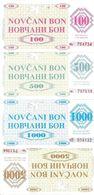 BOSNIE HERZEGOVINE 100-500-1000-5000 DINARA 1992 UNC P 6-7-8-9 R  ( Replica ) ( 4 Billets ) - Bosnië En Herzegovina
