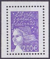 Timbre Neuf ** N° 3457a(Yvert) France 2002 - Marianne Du 14 Juillet 2,00 € Violet, Sans Phosphore - 1997-04 Marianne Of July 14th