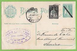 História Postal - Filatelia - Philately - Stationery - Inteiro Postal - Selos Ceres - Stamps - Porto - Aveiro - Portugal - Porto
