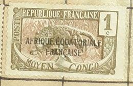 MOYEN CONGO,1C-USED STAMP - Congo Francés (1891-1960)