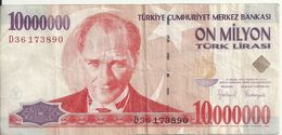 TURQUIE 10 MILLION LIRA 1999 VF P 214 - Turkije