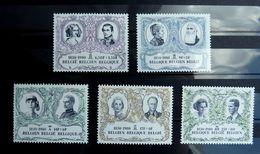 5 Timbres Belge + 1 Bloc Feuillet (2 Photos) 150 Anniversaire Indépendance 1980 - Familias Reales