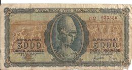 GRECE 5000 DRACHMAI 1943 VG P 122 - Grecia