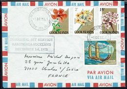 Cook Islands - Inaugural Jet Service Rarotonga-Auckland 1 Décembre 73 - Joli Affranchissement Multicolore à 18 C - TB - - Cocos (Keeling) Islands