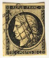 YT 3 (°) Oblitéré Grille Cérès 1849-1850 IIème République 20c Noir Sur Jaune (côte 60 Euros) – Class - 1849-1850 Ceres