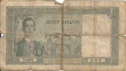 YOUGOSLAVIE 10 DINARA 1939 G P 35 - Yugoslavia