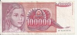 YOUGOSLAVIE 100000 DINARA 1989 VF P 97 - Yugoslavia