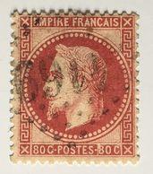 YT 32a (°) 1863-70 Napoléon III Empire Franc Lauré 80c Rose Carminé LGC 4169 Vesoul (côte 42 Euros) – Class - 1863-1870 Napoléon III Con Laureles
