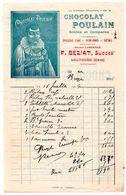 Gers / Facture Illustrée, Publicité CHOCOLAT POULAIN, Epicerie F. BEZIAT à LECTOURE, 1909, Successeur Maison LASSANCE. - Alimentaire