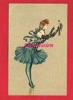 Illustrateur Art Nouveau Femme Jouant Avec Un Homme Surrealisme - Illustrators & Photographers