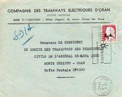 C9 1962 Lettre Algérie Entete Tramways D'oran Surcharge Sur Timbre - Algérie (1962-...)
