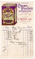 Gers / Facture Illustrée, Publicité CACAO POULAIN, Epicerie F. BEZIAT à LECTOURE, 1910, Successeur Maison LASSANCE. - Alimentaire