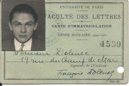 Membership Card DO000183 - France Universite De Paris Faculte Des Lettres 1929 - Documents Historiques