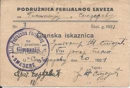 Membership Card DO000184 - Yugoslavia Serbia Ferijalni Savez Smederevo 1921 - Documents Historiques
