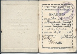 Membership Card DO000188 - Udruzenje Zanatlija Kostajnica Yugoslavia Croatia Bosnia 1938 - Documents Historiques