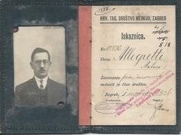 Membership Card DO000189 - Hrvatsko Trgovacko Drustvo Merkur Zagreb Croatia Yugoslavia 1924 - Documents Historiques