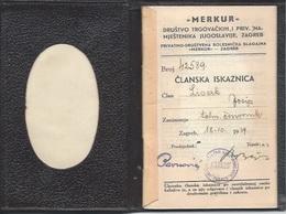 Membership Card DO000190 - Drustvo Trgovackih I Privrednih Namjestenika Merkur Zagreb Croatia Yugoslavia 1939 - Documents Historiques