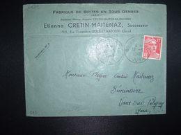 LETTRE TP M. DE GANDON 15F OBL.18-3 1949 BOIS D'AMONT JURA (39) Etienne CRETIN MAITENAZ BOITES EN TOUS GENRES - Marcofilia (sobres)