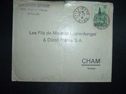 LETTRE Pour La SUISSE TP ARRAS LE BEFFROI 10F OBL.7-2 46 LILLE-GARE NORD (59) LORTHIOIR QUIRET - Marcofilie (Brieven)