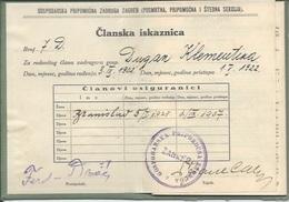Membership Card DO000192 - Gospodarska Pripomocna Zadruga Zagreb Croatia Yugoslavia 1922 - Documents Historiques