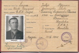 Document DO000198 - Yugoslavia Croatia Osijek Sluzbenicka Knjizica 1948 - Documents Historiques