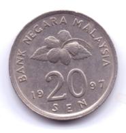 MALAYSIA 1997: 20 Sen, KM 52 - Malaysia
