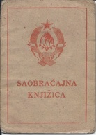 Document DO000199 - Bicycle Registration Card Saobracajna Knjizica Yugoslavia Croatia Osijek 1950 - Documents Historiques