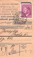 BÖHMEN & MÄHREN - ZAHLUNGSANWEISUNG 2. IX 1943 KLATTAU - PRAG Mi #103 /T233 - Lettres & Documents