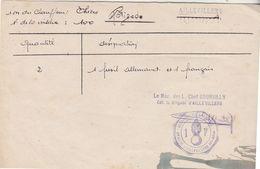 Guerre 39-45 / Inventaire Armes Récupérées Par La Gendarmerie (cachet) D' Aillevillers 70 / Fusil Allemand & Français - 1939-45