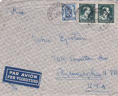 Enveloppe Paire 696 42 Par Avion Per Vliegtuig Anderlecht à Philadelphia USA - Belgium