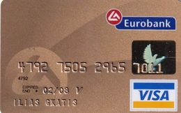 GREECE - Eurobank Gold Visa(reverse Oberthur, Tel : 801-111-1144), 11/04, Used - Cartes De Crédit (expiration Min. 10 Ans)