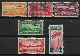 1937-9 Guatemala Paisajes Fauna Pajaros Quetzal 6v - Guatemala