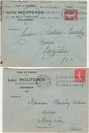 Flamme Besançon / Lot De 2 Enveloppes 1927 Et 1933 / Sur Env Commerciale Louis Mouterde Vins & Cidres - Marcofilia (sobres)