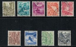 Suisse // Schweiz // Switzerland // 1907-1939 // Paysages (papier Grillé) Oblitéré No.201z-209z - Suisse