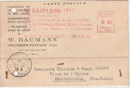 1934 / EMA Baumann Meubles En Bois Courbé / 25 Colombier-Fontaine / Doubs / Pour Froideconche 70 (cachet Pointillé) - EMA (Printer Machine)