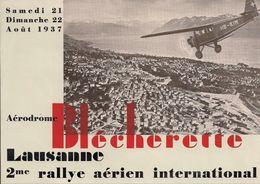 Aviation - Affiche Meeting Lausanne-Blécherette - 21/22 Août 1937 - Rarissime - Advertisements