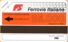 ITALY - Train Phonecard, Urmet, FS Ferrovie Italiane, Scheda Ferroviaria, 25000L , Exp. Day 1993, Mint - Italie