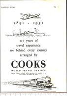 Advertising - Cooks. World Travel Service - Pubblicità 1951 - Non Classés