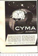 Advertising - Cyma Automatic - 1951 - Non Classés